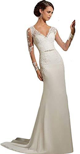 Dreammaking Damen Langarm Brautkleid Prinzessin Standesamt V-Ausschnitt Hochzeitskleid Spitzen und Tüll Brautmode Schleppe Etui mit Schleppe