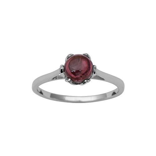 Shine Jewel Anillo de Solitario de Plata esterlina 925 con Piedras Preciosas Redondas de turmalina Rosa para Mujeres