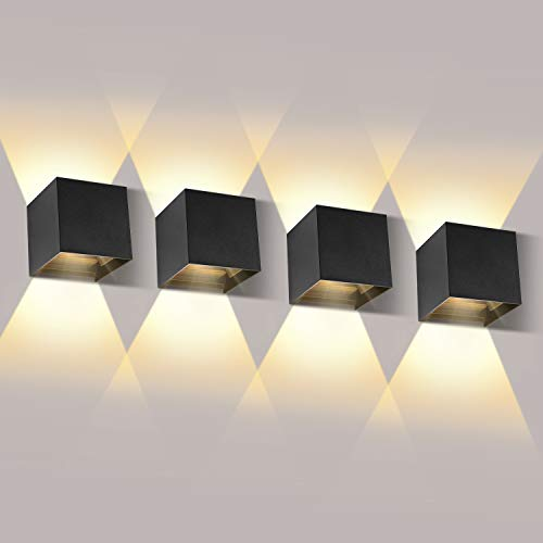 12W LED Wandleuchten Innen/Außen 4 Pack Wandlampe LED Auf und ab Einstellbarer Lichtstrahl 2700-3000K Warmweiß Außenwandleuchte LED IP65 Wasserdichte Wandleuchte Schwarz
