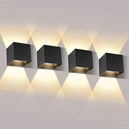 LEDMO Apliques Pared led 4 * 12W LED Aplique Exterior Pared Impermeable IP65 Aplique Exterior Pared 3000K Blanco Cálido