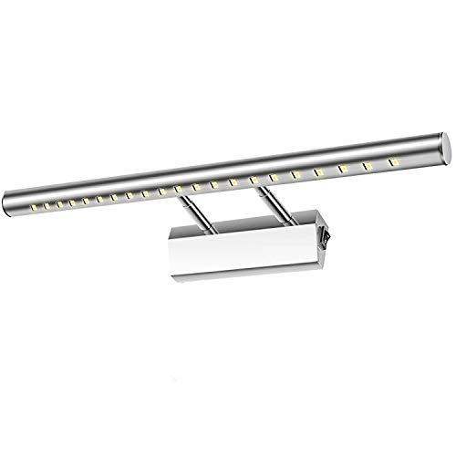 Glighone LED Spiegelleuchte Bad 5W 40cm Spiegellampe 180°einstellbar Edelstahl Kaltweiß mit Schalter