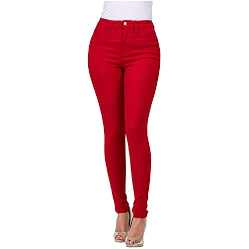 WUAI-Women Stretch Jeggings with Pockets High Wasit Pull-On Stretchy Slim Fit Skinny Jeans Pencil Denim Pants Tights(Red,XX-Large)