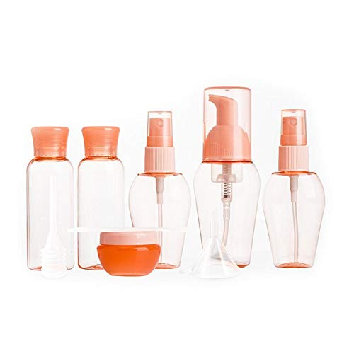 Beeria 6 Pcs Travel Bottles Set Empty Cosmetic Containers Refillable Bottle Plastic Dispenser with Label, Funnel, Straw for Liquids