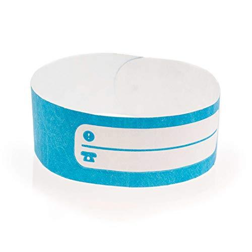 FUN FAN LINE - Conjuntos de 100 Pulseras identificativas de Papel tyvek con Pista de Escritura para niños y Ancianos. Cierre Adhesivo Resistente, intransferible y Resistente al Agua. (Color Azul)