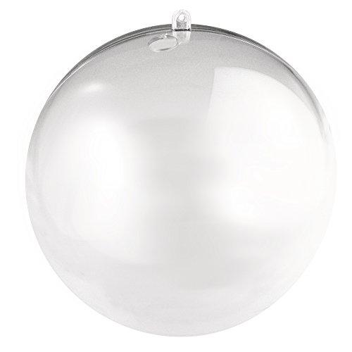 RAYHER 3946237 Plastik-Kugel, 2 teilig, 16 cm mit 15 mm Loch für LED Kette, kristall