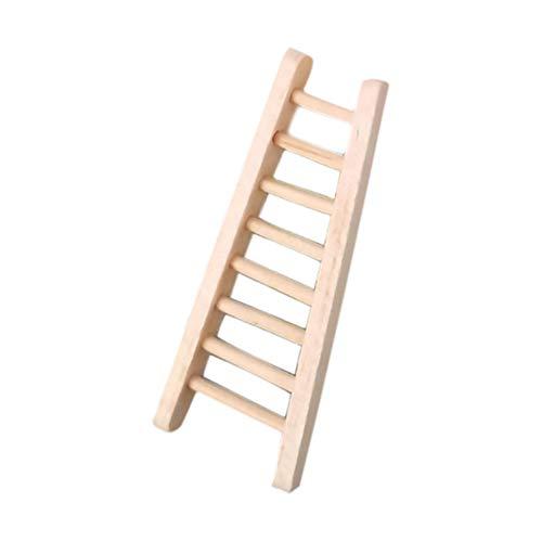 guojiwu 1PC Simulación Escalera Recta Escalera de Juguete de Madera casa de muñecas Accesorios Set Mini Escalera de Madera para la decoración