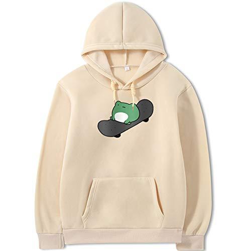 JUNENG Teen's Sweatshirt, Neuheit Kreativität Y2K Design Mit Kapuze, Ubergroßes Sußes Gedrucktes Sweatshirt,Beige,XXX Large
