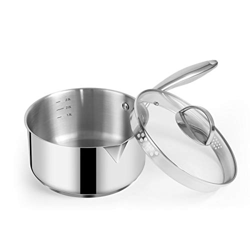 Eono by Amazon Stainless Steel Saucepan with Glass Lid, Strainer Lid and Spouts for Easy Pour with Ergonomic Handle, Multipurpose Straining Sauce Pot Induction with Lid 3.0 L, Dishwasher/Oven Safe