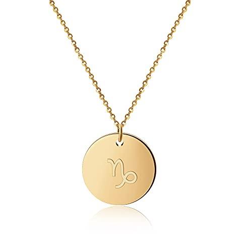 GD Good.Designs ® Goldene Damen Halskette mit Sternzeichen (Steinbock) Tierkreiszeichen Schmuck mit Horoskop (Capricornus) Sternzeichenhalskette goldenekette damenkette frauenschmuck