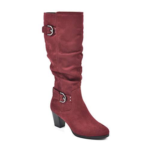 RIALTO Women's Farewell Merlot/Suedette Size 6 Knee High Boot, 6