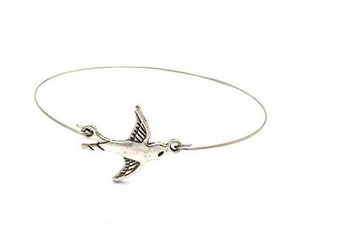 Schwalben Armreif silber-farben Modeschmuck Vogel