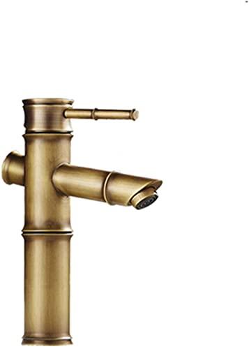 Grifo lavabo de bambú de imitación de estilo europeo caliente y frío todo el cuerpo principal lavabo antiguo de bronce soporte debajo del lavabo del mostrador (tamaño: tres secciones de