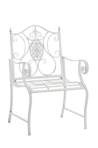 CLP Lackierter Eisen-Gartenstuhl Punjab mit Armlehne I Outdoor-Stuhl im Landhausstil I erhältlich, Farbe:antik weiß