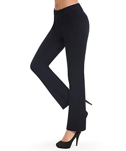 Bamans Elegante Anzughose Straight Freizeithose Damen - Lang Stretch Stoffhose Business Hose Yoga Pilates Fitness Sporthose Blau XXL