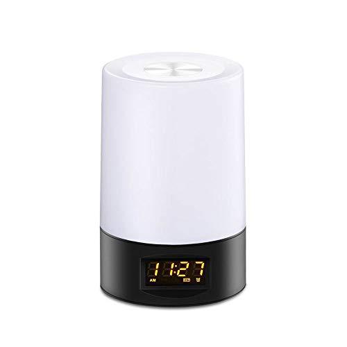Liangsujian td - Lámpara de mesa, luz nocturna, lámpara de mesilla táctil, lámpara de mesa temporizada, USB recargable, lámpara de escritorio LED portátil, despertador, pantalla LCD, colores v