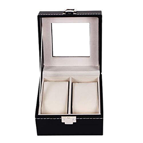 Caja de reloj para almacenamiento de joyas Caja de reloj de cuero sintético de gran capacidad para viajes o colección con cerradura de almohada suave Tapa de vidrio Caja de almacenamiento de pulsera