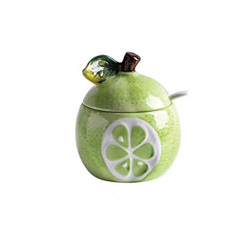 SMEJS Keramische Frucht Gewürz Glas-Keramik-Zucker, Zuckerdose, Zucker Set mit Deckel & Löffel, Kaffee Serving Set Hochzeit Geschenk (Color : D)