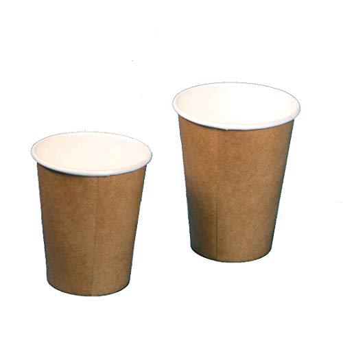 1000 Bio Coffee to go Becher Kaffeebecher Pappbecher 8oz 200ml 0,2l kompostierbar Hartpapier Pappe braun innen weiß PLA beschichtet
