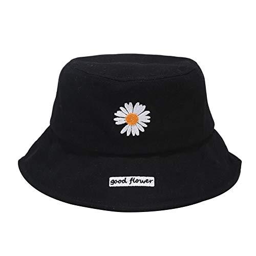 Drawihi Daisy bestickter Fischerhut Streifenmuster Bucket Hat Frauen Sommer Sonnenhut breite Krempe Outdoor Damen faltbar 56–58 cm schwarz