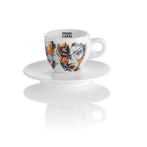 Mamis Caffè Aurora Espresso Porzellantasse mit Motiv weiß 65 ml