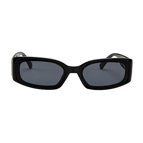 ZEZKT gafas de sol cuadradas para mujer y hombre gafas de sol ligeras unisex de moda lente polarizada con espejo casual sunglasses para viajes al aire libre Negro