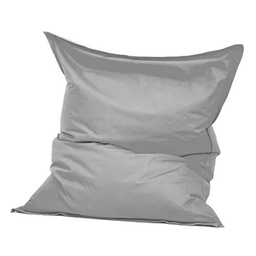 Green Bean © Square XXL Indoor Riesensitzsack aus Baumwolle 140x180 cm - 380 Liter EPS Perlen Füllung - waschbar, mit Innensack - Sitzkissen Bodenkissen Sitzsack für Kinder & Erwachsene - Hellgrau