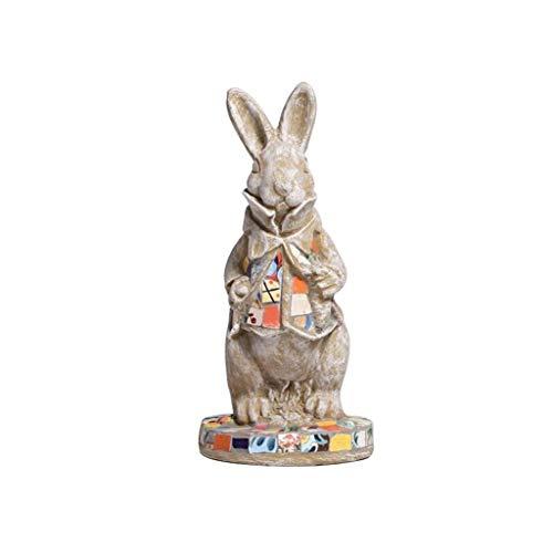 Sculptures de Jardin TongN Décoration de Statue de Petit Animal de Lapin, Ornement de Prairie de Cour de Jardin, Fait de céramique (Size : Small)