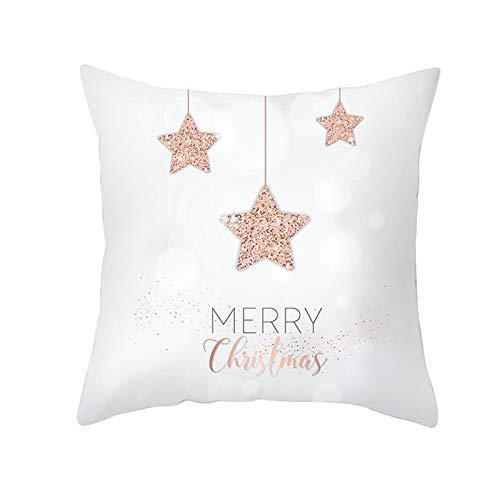 ANAZOZ Funda para Cojines de 50x50,Fundas Cojin Poliéster Fundas Cojines Merry Christmas Estrellas Oro Rosa Blanco