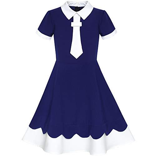 Sunboree Mädchen Kleid Zurück Schule Uniform Marine Blau Weiß Kragen Binden Kurz Ärmel Gr. 146