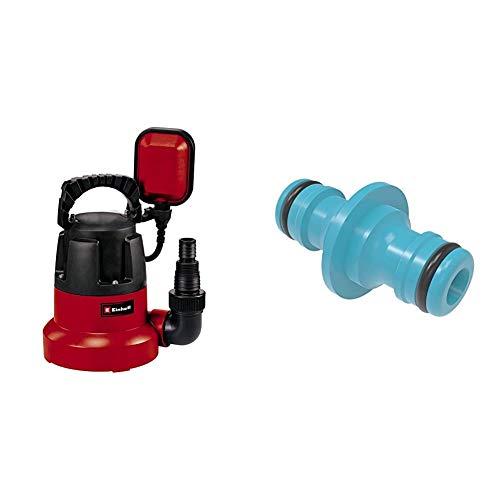 Einhell Tauchpumpe GC-SP 3580 LL (350 W, 8.000 Liter pro Stunde, flachabsaugend bis 1 mm, Pumpenstart ab 8 mm, integriertes Rückschlagventil) & cellfast BASIC Schlauchkupplung, Blau, 1-2