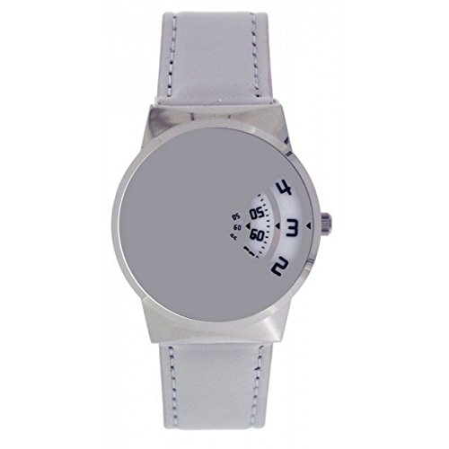 Softech Herren Designer Grau PU Lederband Jump Hour Disc Time Display Uhr Analog Quarz Schnalle Schließe Extra Batterie