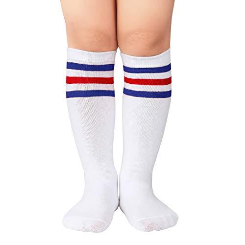 Durio Girls Knee High Socks for Toddler Girls and Boys Tube Knee Socks Kids Sports Soccer Socks White with Blue&Red Stripes