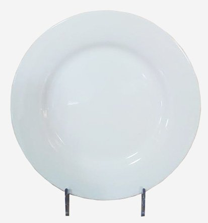 Thunder Group 9' White Porcelain Rolled Edge Round Plate (6 Count)