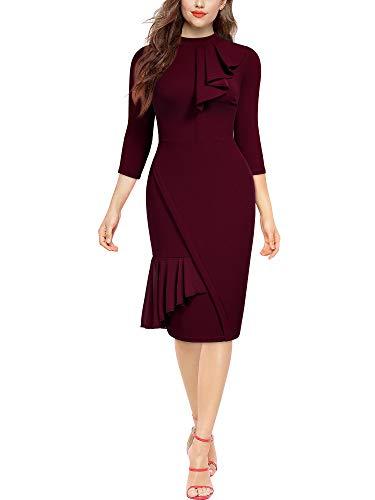 MIUSOL Damen Business Kleid Etuikleid hoher Kragen 3/4 Halbarm figurbetontes Kleid Rüschen drapiert Pencil Kleid Burgund 2XL