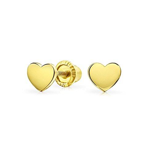 Minimalist Real Yellow 14KGold Screwback Engravable Alphabet Initials Solid Heart Shaped Stud Earrings For Women Teen Girlfriend