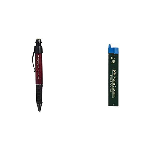 Faber-Castell - Set de portaminas, surtido,1 unidad + 120702 - Minas, 12 unidades, Gris, 2B, 0.7 mm