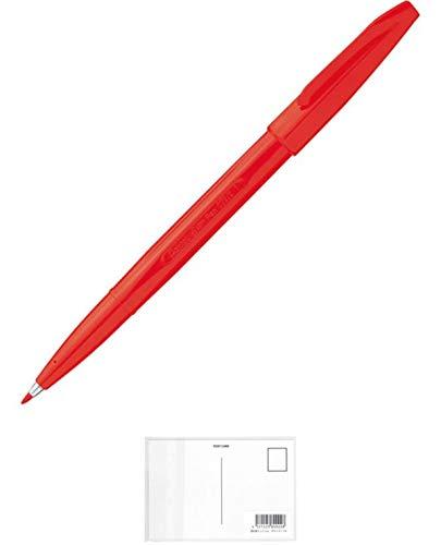 ぺんてる サインペン 赤 30本 + 画材屋ドットコム ポストカードA