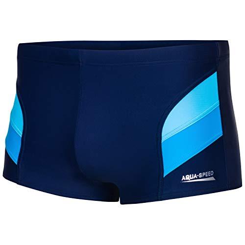 Aqua Speed Badehose Herren + gratis eBook   Schwimmhosen eng kurz für Männer   UV Kastenbadehose   Sport   Aron, Gr. 5XL, Marineblau Hellblau Blau