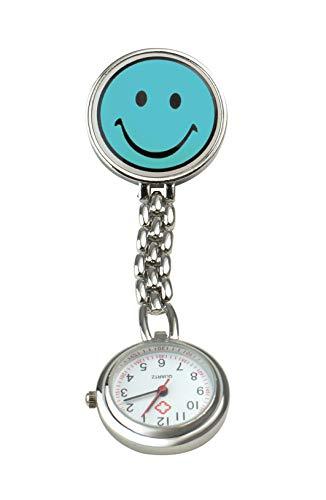 Pflegehome24 Schwesternuhr Smiley Pulsuhr Krankenschwesteruhr Kitteluhr Pflegeuhr mit Clip, (Hellblau)