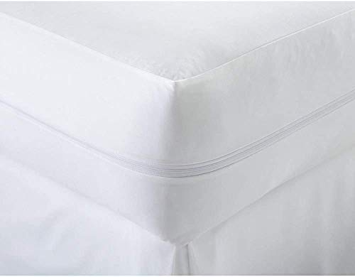 Night Comfort Fire Retardant Cotton Blend Zipped Mattress Protector Non Allergenic Anti Dust Mite Anti Bacterial Machine Washable Mattress Protector (Single)