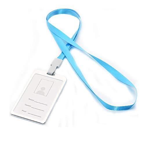 Tarjetero vertical duradero para tarjetas de identificación, con correa para el cuello, color azul celeste talla única