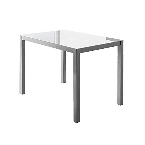 MOMMA HOME Mesa de Comedor - Modelo Melbourne - Color Blanco/Plata - Material Cristal Templado/Metal - Medidas 110 x 75 x 75 cm ✅