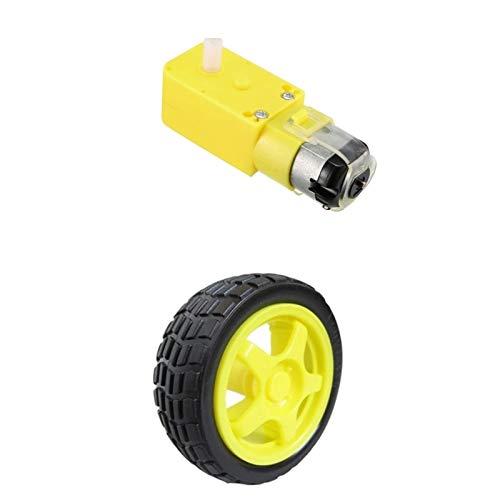 NO-LOGO L-Yune, TT Motor Smart-Auto-Roboter-Getriebemotor for Arduino Bausatz Räder Smart Car Chassis Motor Roboter Fernbedienung Auto DC-Getriebemotor (Größe : TT Motor and Wheel)