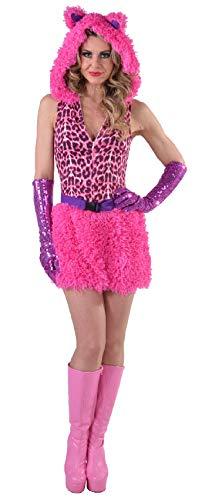 narrenkiste M216182-L Pink Panter - Vestido para mujer (talla L), diseo de leopardo, color rosa