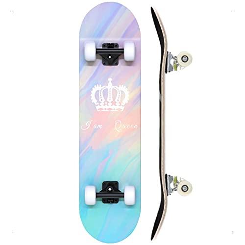 """TACKLY Skateboard Adulto Completo 7-9 Capas Layers – monopatín Skate 31""""x8 Madera de Arce para niños y Adultos Unisex – Apto para Todos los Niveles Principiante intermedio avanzado (Crown)"""