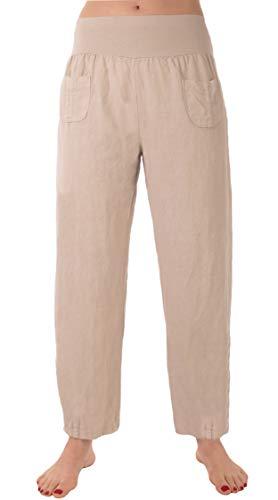 FASHION YOU WANT Damen Leinenhose Größe 36/38 bis Größe 56/58 aus 100% Leinen - leichte Sommerhose Tunnelbund mit Gummizug und 2 aufgesetzten Taschen vorne - (40/42, kurz beige)