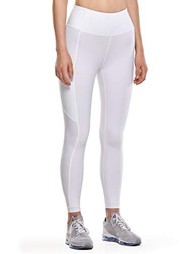 CRZ YOGA Mujer Naked Feeling Leggings Deportivas Cintura Alta Yoga Fitness Pantalones con Bolsillo-63cm Blanco New2 42