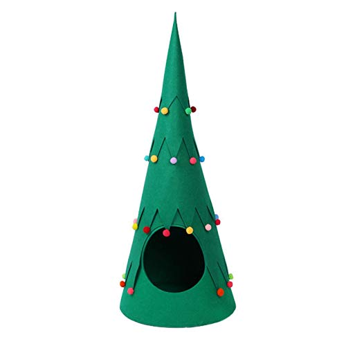 NLRHH Katze Nestbett Indoor Weihnachtsbaum Haustierhaus auf Zelt Tragbare grüne Haustier Tipee Filz Cat Cave Halbgeschlossenes Design Mehr weiche und Bequeme abnehmbar for Wohnkultur Peng