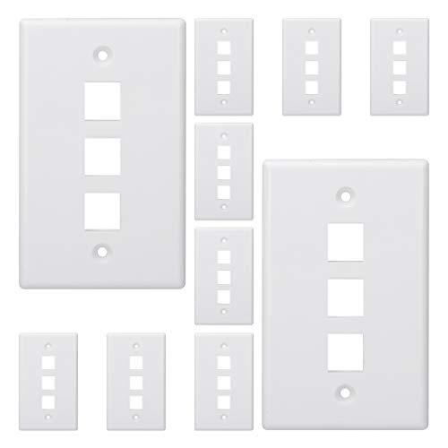 Kebulldola 3 Port Keystone Wall Plate (10 Pack), 1 Gang Low Voltage...
