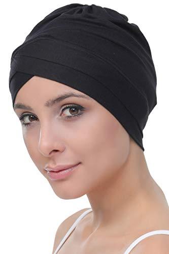 Deresina Damen W Front Mütze Bambus, bei Krebs, Chemo, Haarausfall Gr. Einheitsgröße, Schwarz